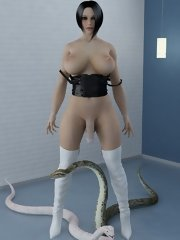 fearless 3d futanari girl posing for pics with poisonous snakes